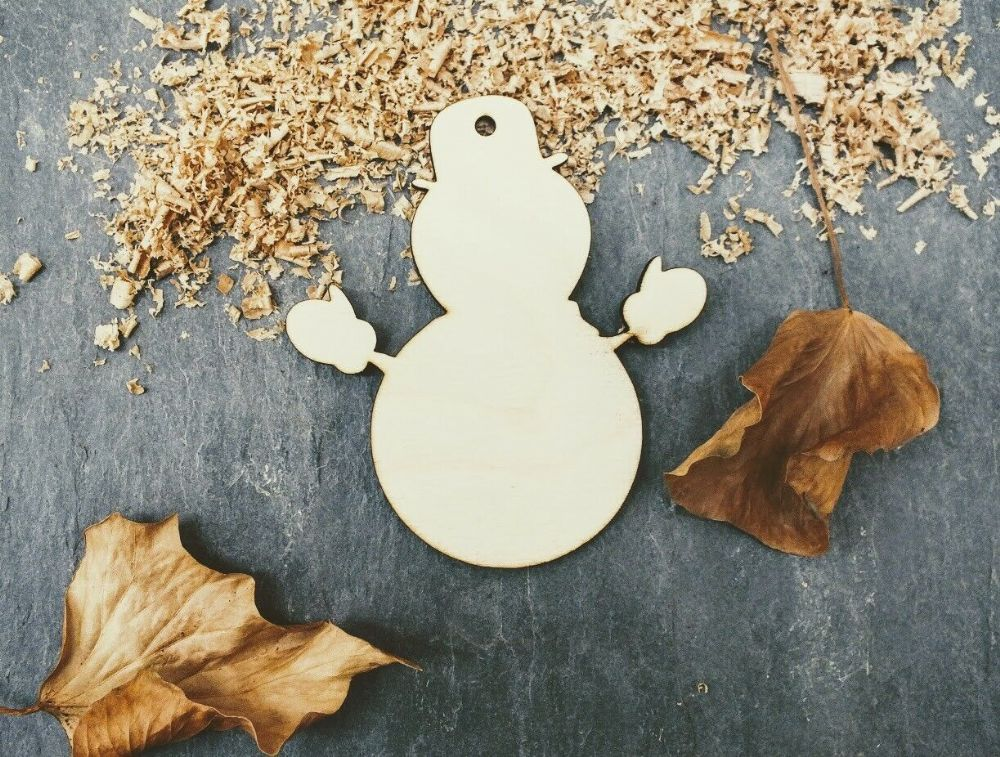 Single Laser 4mm Plywood Snowman Shape